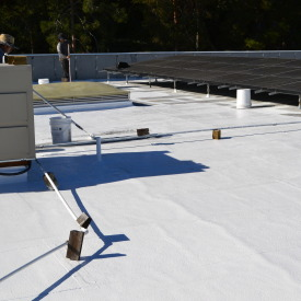 Our White / Gray Silicone Roof Coating Is A Ready To Use, 96% Solids,  Single Component, Breathable Moisture Cured Fluid Applied Roof Coating With  ...